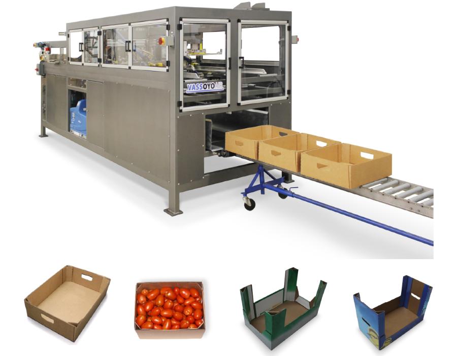Automatic tray former for triangular corner post trays - EndFlex